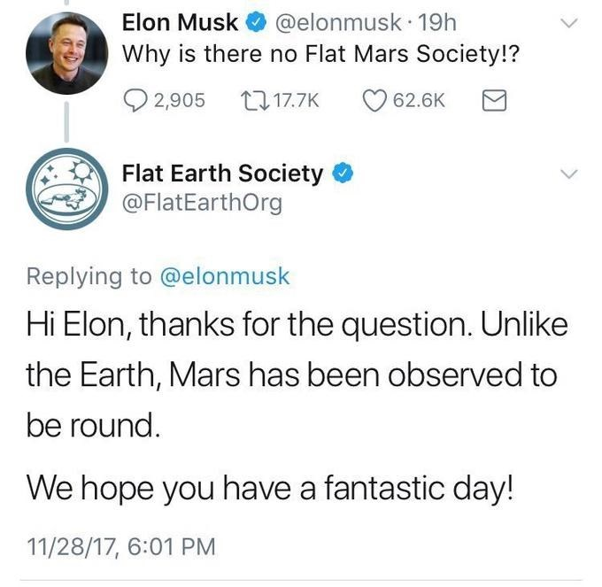 tweet post about elon musk asking why there is not a flat mars society