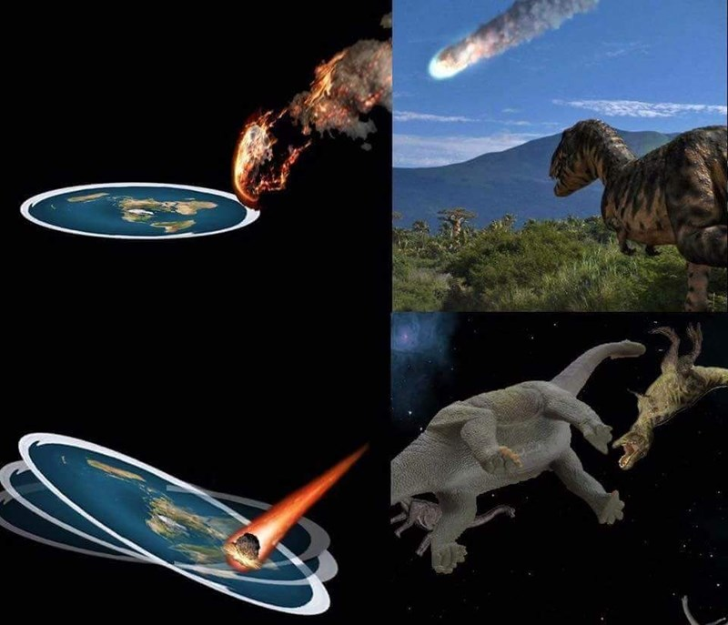 meme about an asteroid hitting earth if it was flat
