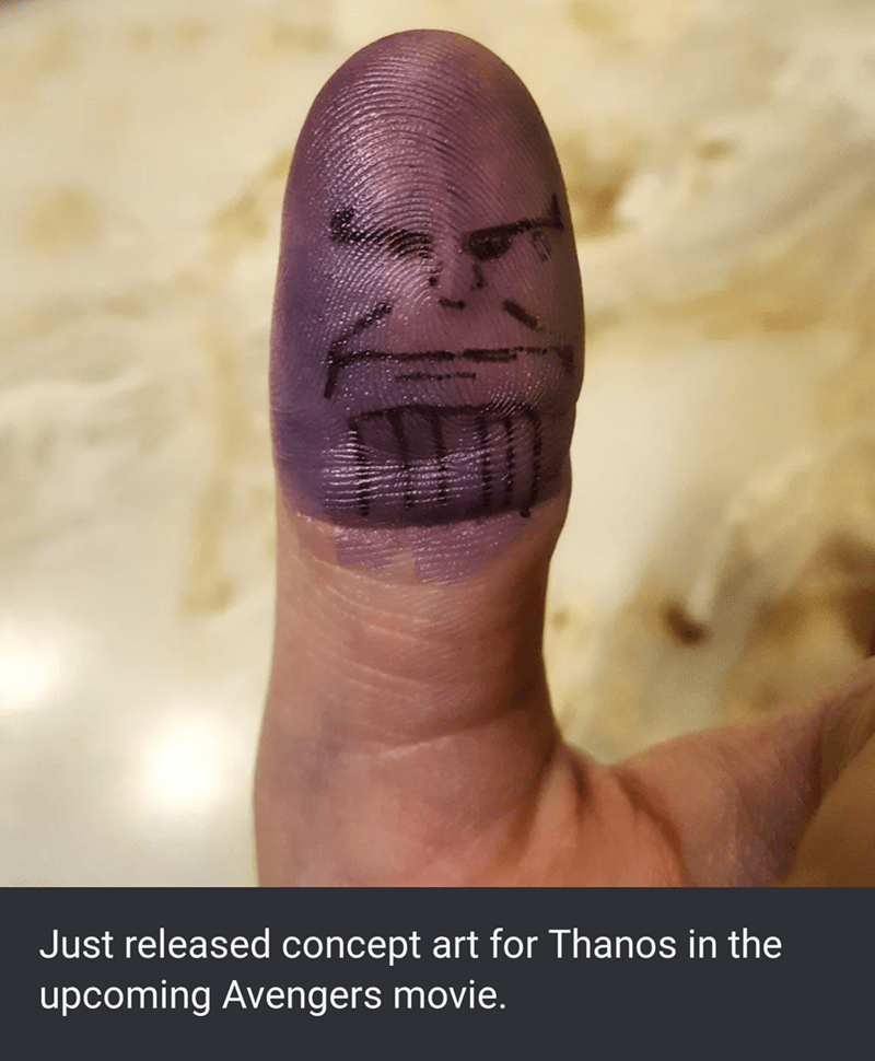Face - Just released concept art for Thanos in the upcoming Avengers movie.