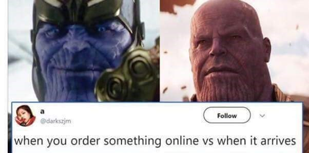 Text - Follow @darkszjm when you order something online vs when it arrives