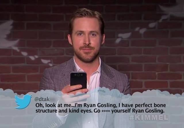 Hair - @dtak Oh, look at m...I'm Ryan Gosling, I have perfect bone structure and kind eyes. Go yourself Ryan Gosling. #KIMMEL