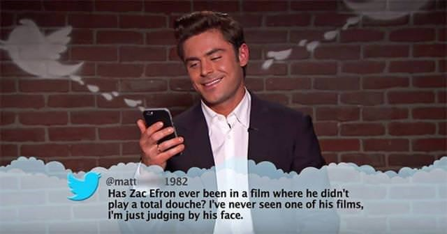 Text - 1982 @matt Has Zac Efron ever been in a film where he didn't play a total douche? I've never seen one of his films I'm just judging by his face.