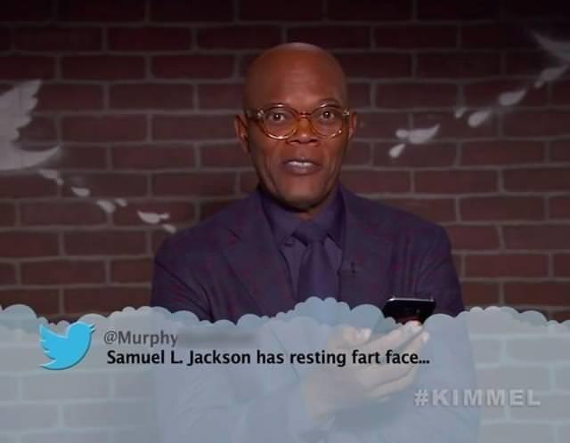 Photo caption - @Murphy Samuel L. Jackson has resting fart face... #KIMMEL