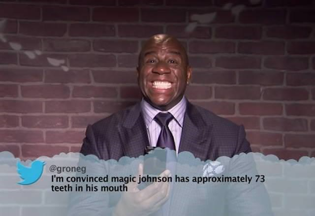 Tie - @groneg I'm convinced magic johnson has approximately 73 teeth in his mouth