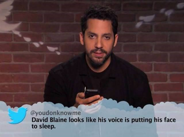 Hair - @youdonknowme David Blaine looks like his voice is putting his face to sleep.