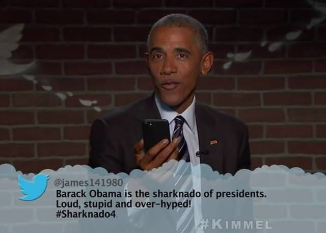 Speech - @james141980 Barack Obama is the sharknado of presidents. Loud, stupid and over-hyped! #Sharknado4