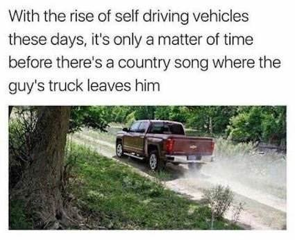 Funny meme about a self driving car and country music.