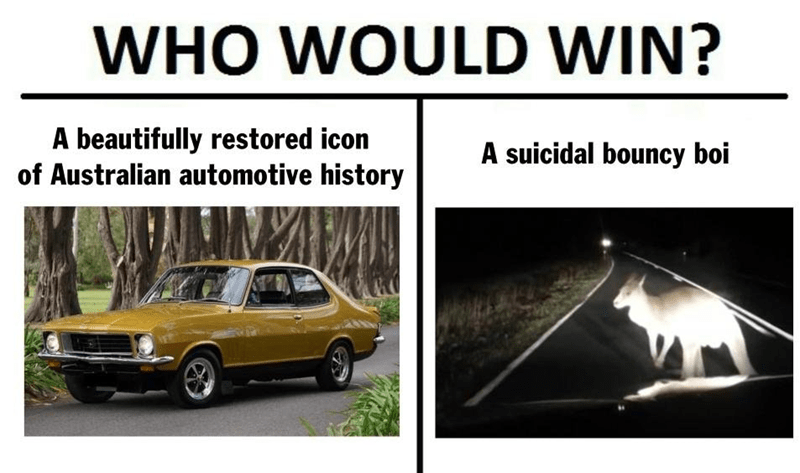 Land vehicle - WHO WOULD WIN? A beautifully restored icon of Australian automotive history A suicidal bouncy boi