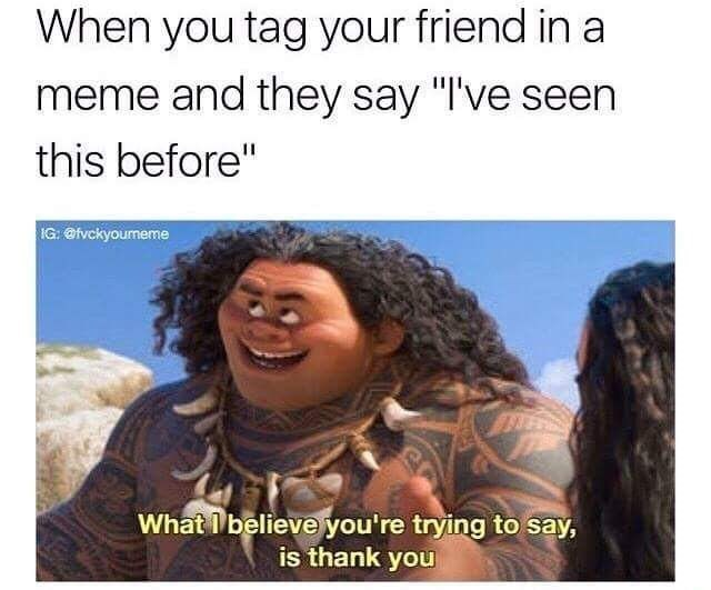 """Hair - When you tag your friend in a meme and they say """"I've seen this before"""" IG: @fvckyoumeme What believe you're trying to say, is thank you"""