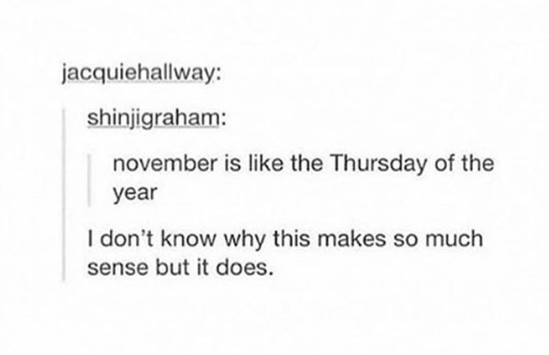 Text - jacquiehallway: shinjigraham: november is like the Thursday of the year I don't know why this makes so much sense but it does.