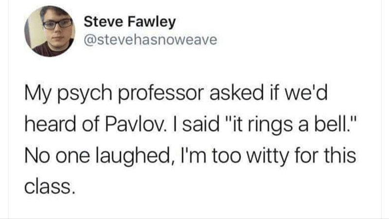 """Text - Steve Fawley @stevehasnoweave My psych professor asked if we'd heard of Pavlov. I said """"it rings a bell."""" No one laughed, I'm too witty for this class."""