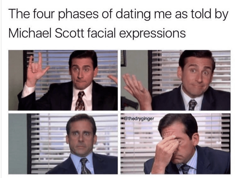 Facial expression - The four phases of dating me as told by Michael Scott facial expressions @thedryginger