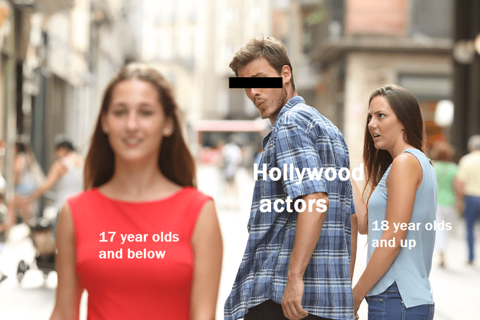 Funny distracted boyfriend meme about hollywoood.