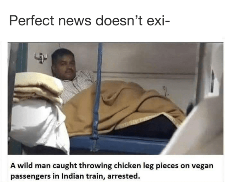 Funny meme about Indian man throwing chicken at vegans.