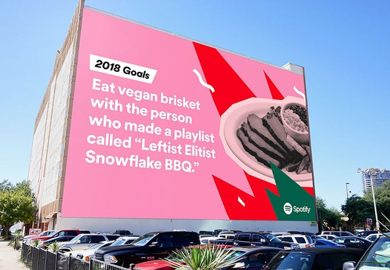 "Advertising - 2018 Goals Eat vegan brisket with the person who made a playlist called ""Leftist Elitist Snowflake BBQ."" Spotify"