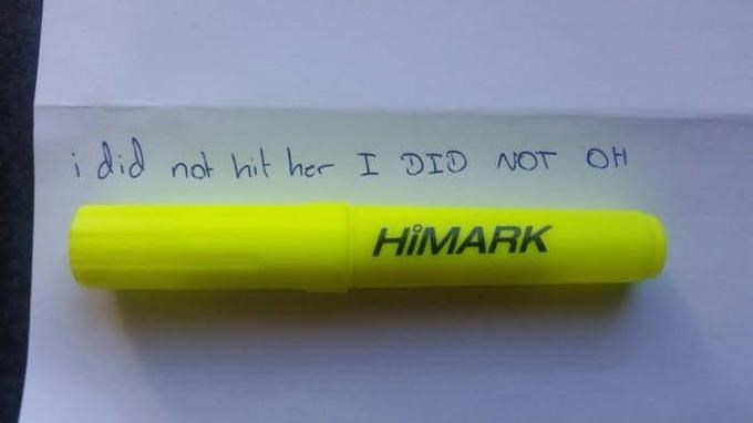 Yellow - i did not hit her I DIO NOT OH HIMARK