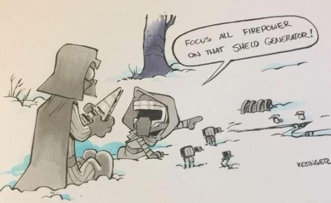 Cartoon - Focus ALL FIREPOWER ON THAT SHE LD GENERATOR! KESINGER