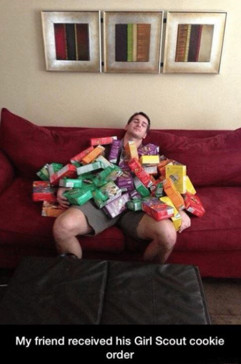 Couch - My friend received his Girl Scout cookie order