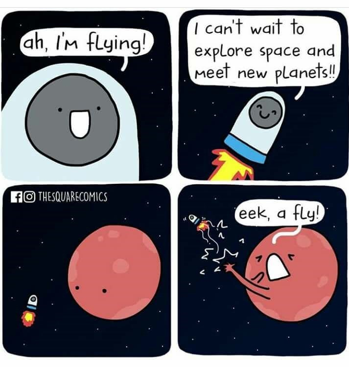 Cartoon - I can't wait to explore space and Meet new ah, Im flying! Planets!! fO THESQUARECOMICS eek, a fly!