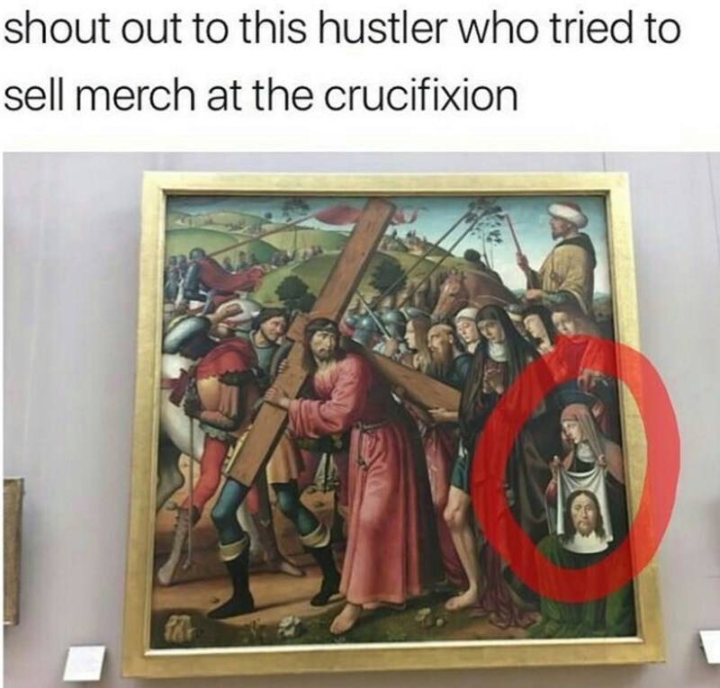 hustler trying to sell merch at the crucifixion