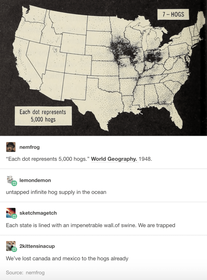Funny meme about hogs taking over the United States.
