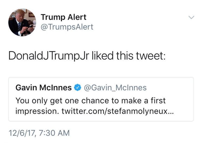 Text - Trump Alert @TrumpsAlert DonaldJTrumpJr liked this tweet: @Gavin_Mclnnes Gavin Mclnnes You only get one chance to make a first impression. twitter.com/stefanmolyneux... 12/6/17, 7:30 AM