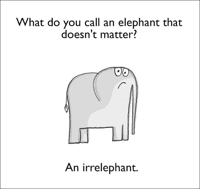 Text - What do you call an elephant that doesn't matter? An irrelephant.