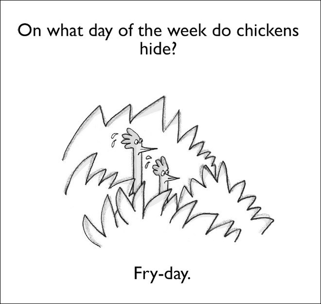 Text - On what day of the week do chickens hide? Fry-day.