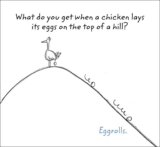 Text - What do you get when a chicken lays its eggs on the top of a hill? Eggrolls.
