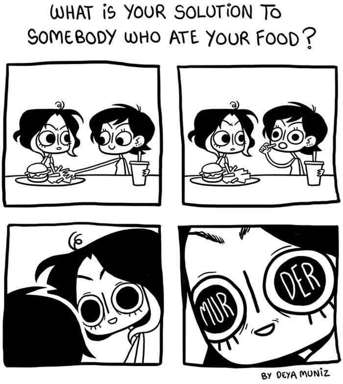Cartoon - WHAT is YOUR SOLUTION TO SOMEBODY WHO ATE YOUR FOOD? PER UR By DEYA MUNIZ