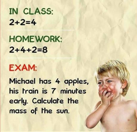 Facial expression - IN CLASS: 2+2-4 HOMEWORK: 2+4+2=8 EXAM: Michael has 4 apples, his train is 7 minutes early. Calculate the mass of the sun.