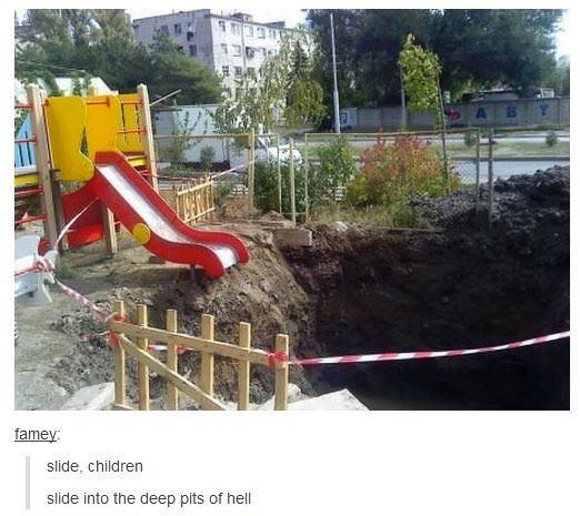 Playground - A B famey: slide, children slide into the deep pits of hell