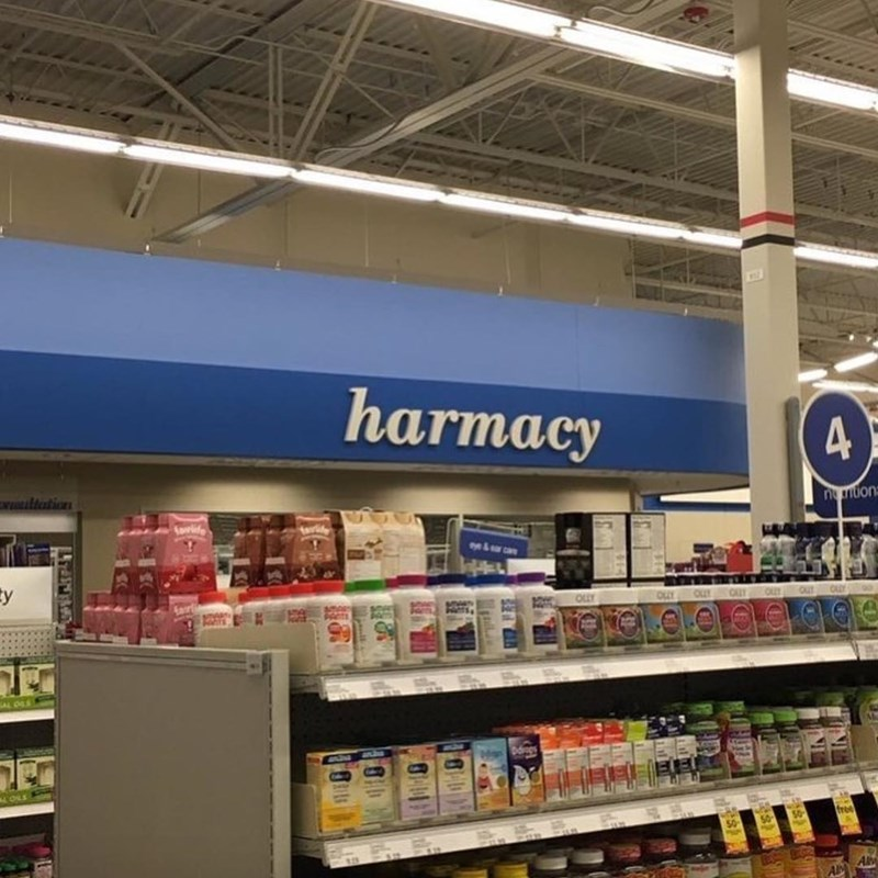 "Funny picture of pharmacy, but it says ""harmacy""."
