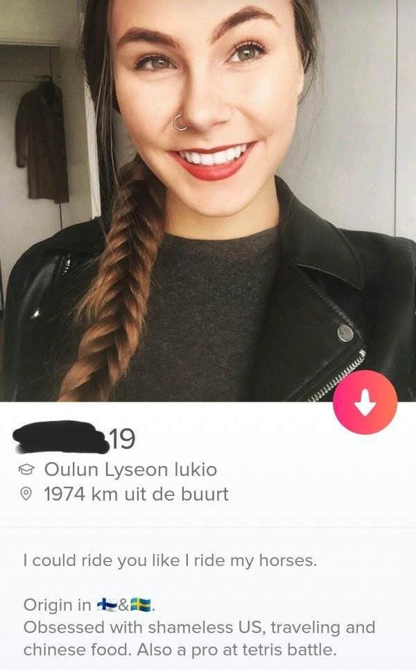Face - 19 Oulun Lyseon lukio 1974 km uit de buurt I could ride you like I ride my horses. Origin in&I. Obsessed with shameless US, traveling and chinese food. Also a pro at tetris battle