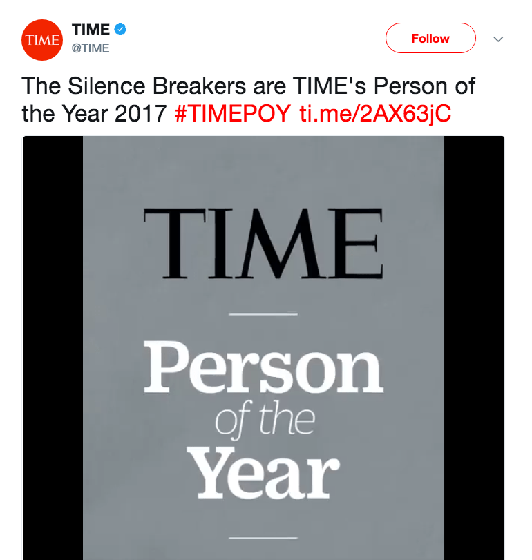 Text - TIME TIME Follow @TIME The Silence Breakers are TIME's Person of the Year 2017 #TIMEPOY ti.me/2AX63JC TIME Person of the Year