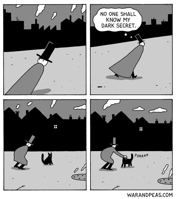 Cartoon - NO ONE SHALL KNOW MY DARK SECRET. PURRRA WARANDPEAS.COM