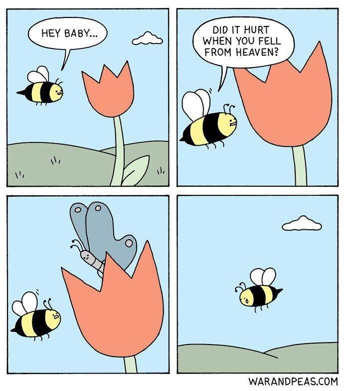 Cartoon - DID IT HURT WHEN YOU FELL FROM HEAVEN? HEY BABY.. WARANDPEAS.COM