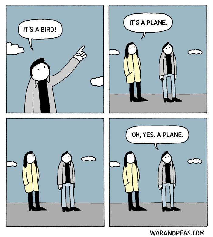 Cartoon - ITS A PLANE IT'S A BIRD! OH, YES. A PLANE WARANDPEAS.COM