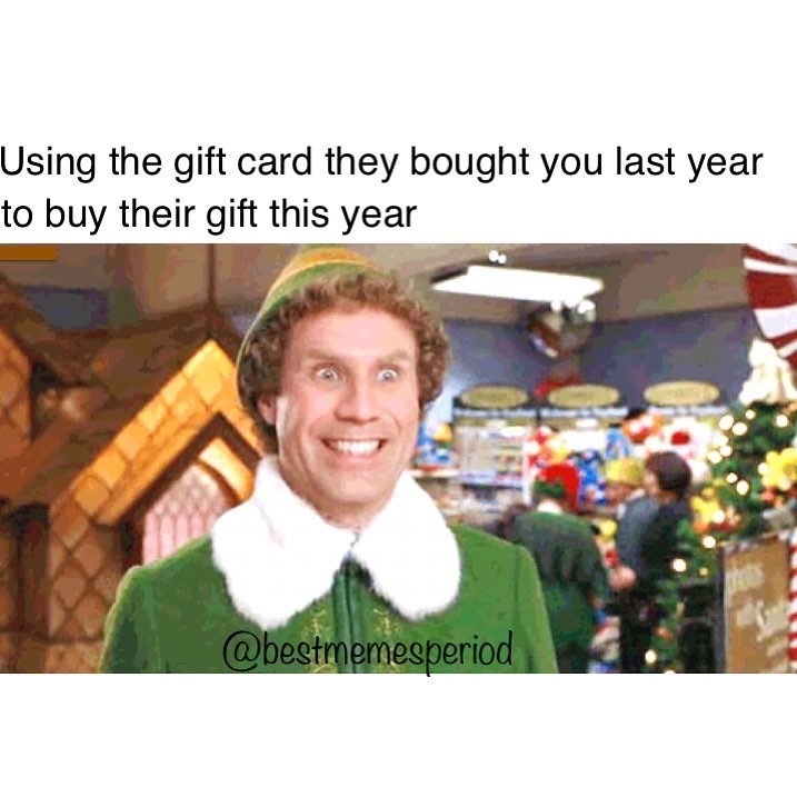 Funny meme about using gift cards to buy presents.