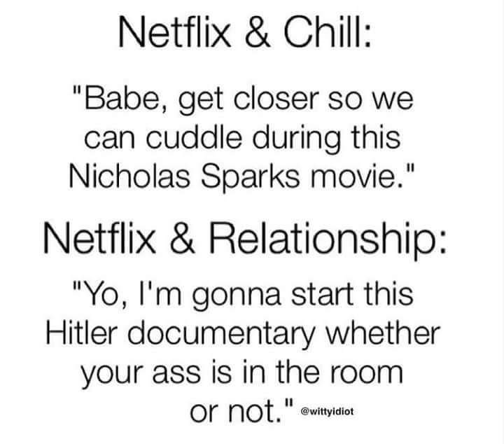 """Text - Netflix & Chill: """"Babe, get closer so we can cuddle during this Nicholas Sparks movie."""" Netflix & Relationship: """"Yo, I'm gonna start this Hitler documentary whether your ass is in the room or not."""" @wittyidiot"""