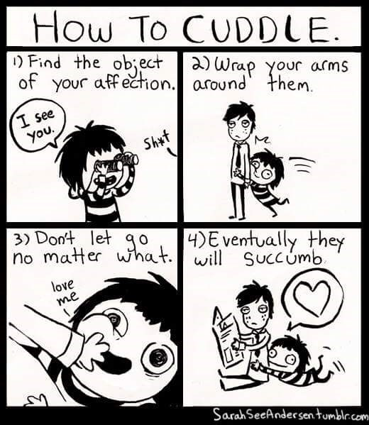 Cartoon - How To CUDDLE Find the object of your affecrion. around them Θ) Wrαρ γοur a(ms I see You. Shat 3) Dont let g0,4E ventually they no matter wh will Succumb. love me Sarah SeeAndersen tumblr.com