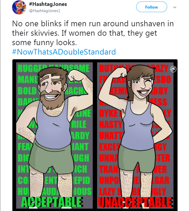Cartoon - #HashtagJones Follow @HashtagJones1 No one blinks if men run around unshaven in their skivvies. If women do that, they get some funny looks #NowThatsADoubleStandard RUGGER SOME BUTO MANL BOLD DAR AZY SBO BBY ESS Y FA EM ACH LINE DYKE RILE NASTY ARDY UNATT IANT EXCES UGH UNNA iCH FEA DIG INT GY TER WER TRAN cO ENT EPID UNPOEGAR HU AUD1OUS LAZY S ACCEPTABLE DNACCERTABLE GLY