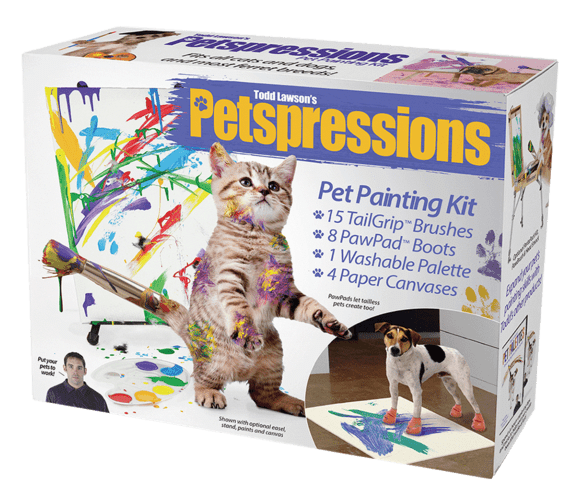 Cat toy - 2ISO essionS auce Todd Lawson's Petspressions Pet Painting Kit 15 TailGrip Brushes 8 PawPad Boots 1 Washable Palette 4 Paper Canvases PowPads let talless pets ceate teo Ptyour Shown with aptional eesel stond paints and cm