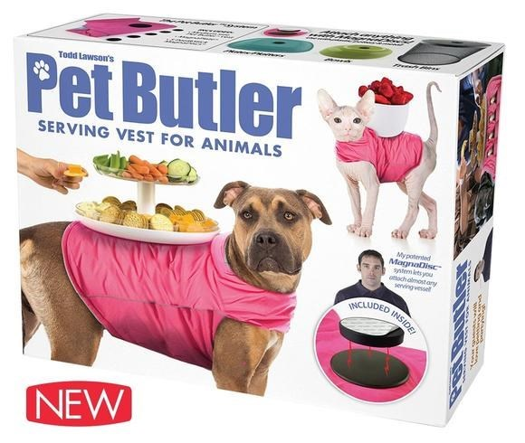 Pet food - Todd Lawson's Pet Butler SERVING VEST FOR ANIMALS Mypotented MagnaDisc stem ts you otoch oimostany servingvessel INCLUDED INSIDE NEW