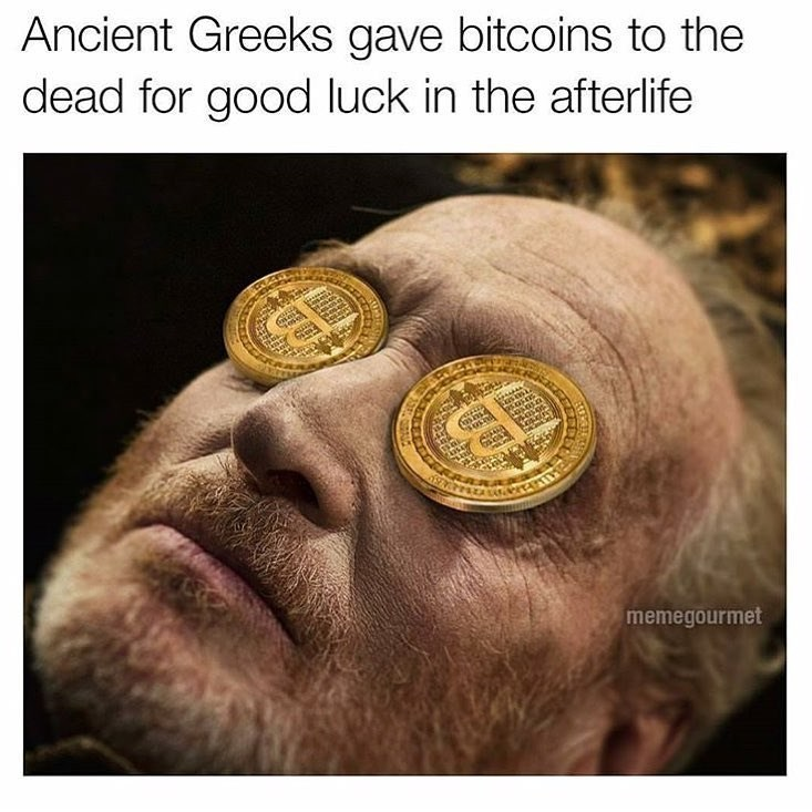 Skin - Ancient Greeks gave bitcoins to the dead for good luck in the afterlife Cas in asini memegourmet
