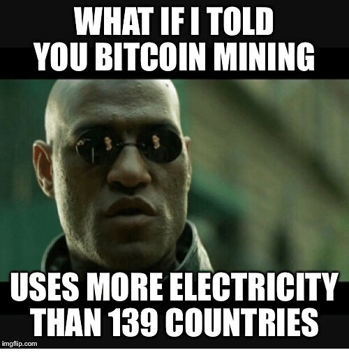 Photo caption - WHAT IFITOLD YOU BITCOIN MINING USES MORE ELECTRICITY THAN 139 COUNTRIES imgflip.com