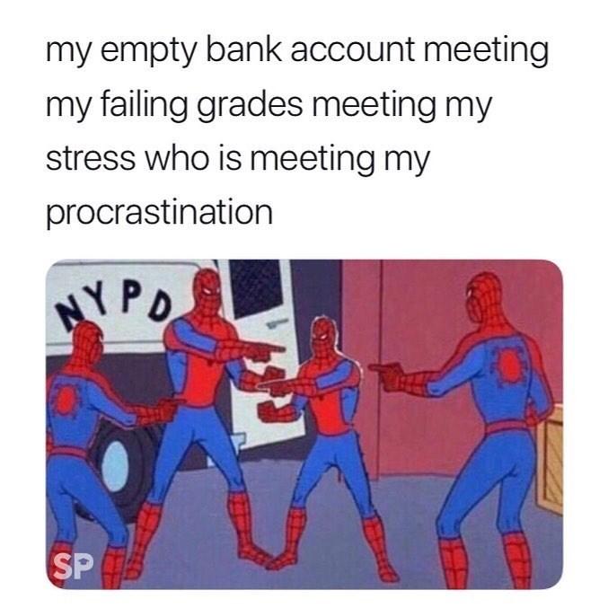 meme - Text - my empty bank account meeting my failing grades meeting my stress who is meeting my procrastination NY PO SP