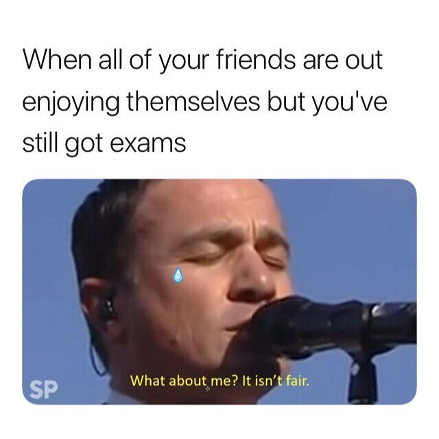 meme - Text - When all of your friends are out enjoying themselves but you've still got exams What about me? It isn't fair. SP