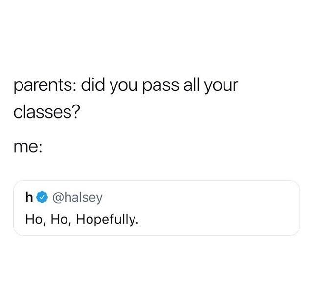 meme - Text - parents: did you pass all your classes? me: h@halsey Но, Но, Норefuly.