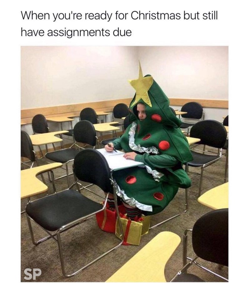 meme - Room - When you're ready for Christmas but still have assignments due SP